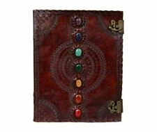 HANDMADE LEATHER JOURNAL SEVEN MEDIEVAL STONE WITH C-CLASP LOCK DAIRY