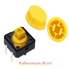 DE ! 10x Taster mit Druckfläche Gelb 12x12x7,5 /12 Button Mikrotaster mit Kappen