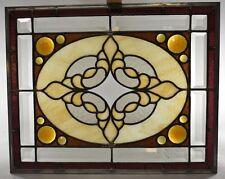 Antique Stained Slag Glass Jeweled Beveled Window