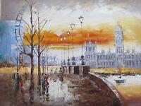 London Eye Large Oil Painting Canvas Cityscape Contemporary Original Modern Art