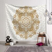 Golden flower Indian Mandala Tapestry Wall Hanging Bedspread Throw HI