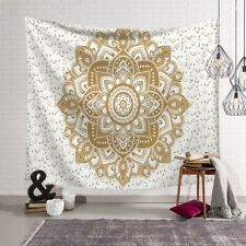 Golden flower Indian Mandala Tapestry Wall Hanging Bedspread Throw TW