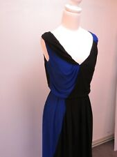 C-048 VERONIKA MAINE Amazing Vintage Styled Blue & White VISCOSE Dress sz 6