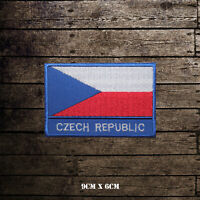 Czech Republic National Flag With Name Embroidered Iron On Sew On Patch Badge