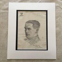 Original Zeichnung Sketch Porträt Von Ein Gentleman Unterzeichnet Chelsea London