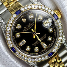 Women's Rolex 31mm Datejust Watch Black Dial with A Track Sapphire & Diamond