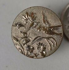 Antique Metal Button Picture Bird Chasing Bug Insect Paris Back White Metal