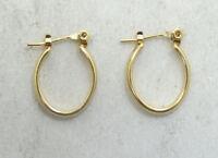 14K Yellow Gold Smooth .65 Inch Hoop Latchback Earrings 1.6 Grams D3285