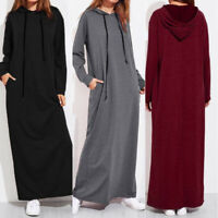 UK Womens Winter Warm Hooded Loose Baggy Pullover Sweatshirt Long Dress