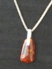 925 Sterling Silver Amber Pendant and 925 Chain Necklace