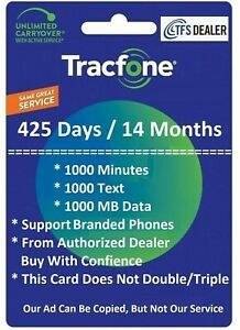 TracFone Service Extension 425 Days,1000mins/1000 txt/1000MB For Branded Phones