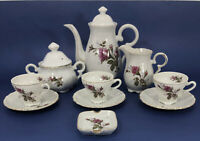 Vintage Porcelain Moss Rose Coffee Tea Pot Cups Saucers & Cream Sugar Set RG-L9