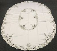 "Embroidery Peacock 72x108"" Oval Embroidered Polyester Tablecloth 12 Napkins"