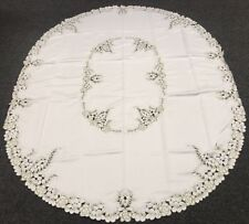 """Embroidery Peacock 72x126"""" Oval Embroidered Polyester Tablecloth 12 Napkins"""