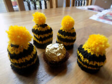 Ferrero Rocher hand knitted covers x 4 black and gold