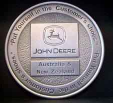 John Deere Logo Australia New Zealand Pewter Paperweight Medallion Customer Shoe