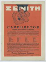 1919 Zenith Carburetors Ad: List of Autos & Airplanes as Original Equipment