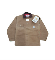 NOS Vtg 90s Carhartt Mens 40 Spell Out Quilt Lined Coat Jacket Duck Brown USA
