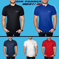 Homme Air France Polo T Shirt COTON BRODE Logo Avion Cadeau Vêtements Chemise