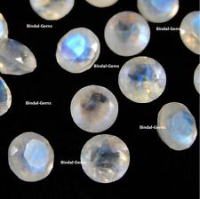 LOT 25 PCS NATURAL RAINBOW MOONSTONE 4X4 MM ROUND FACETED CUT LOOSE GEMSTONES
