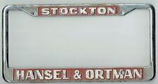RARE Stockton California Hansel-Ortman Cadillac Olds Vintage License Plate Frame