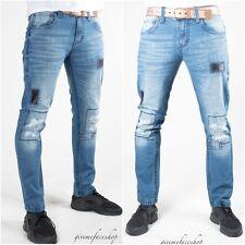 Peviani Arkansas Star Denim Jeans, Herren Flicken G Straight-Slim Für Rips, Riss