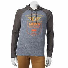 Levi's Mens Blue/Grays Graphic Hoodie Cotton/Polyester Long Sleeve Shirt Size M