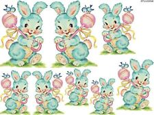 VinTaGe IMaGe BaBY BLuE BuNnY WiTH RaTTLe NuRSeRY SHaBbY WaTerSLiDe DeCALs