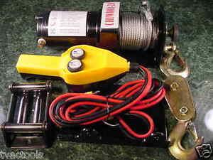 2,000 Lb 12 volt POWER WINCH ATV Auto Puller 1 Ton 50 foot Steel Cable Remote