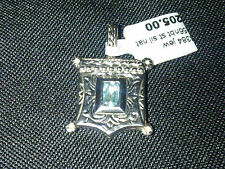 Sterling Silver Jeweled Square locket charm or pendant New
