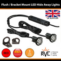 LED Hideaway Lights,12/24V Flush/Bracket, LightBar Recovery Strobe Beacons RED