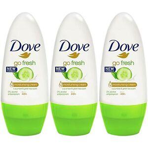 3 x Dove Go Fresh Cucumber 48h Anti-perspirant Deodorant Roll On Women 50ml