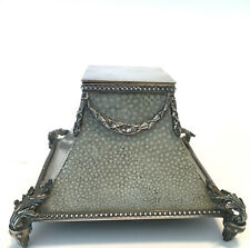 English Sterling Silver & Shagreen Ink Well Samuel Jacob