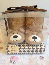 Baby Bear Boots Slippers Newborn 0-6 Months Teddy Gift Boxed Bnwt