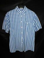 Orvis L Blue Black White Plaid Shirt Short Sleeve Button Down Seersucker Cotton