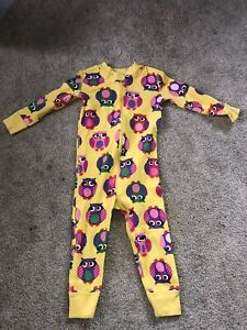 Hanna Andersson Zip Up One Piece Jammies- Yellow Owl- size 2T- 100% organic