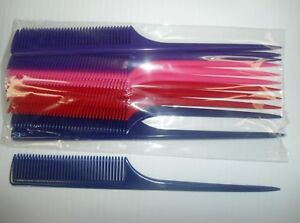"""Diane 12-pieces 9"""" Thick Rat Tail Combs Multi-Colors - Essential Salon Tools"""