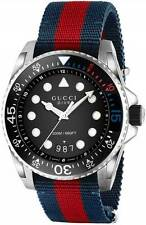 New Gucci Dive XL Sport Black Dial Nylon Strap Men's Watch YA136210