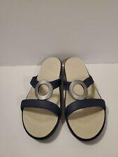 CROCS SANRAH Ring Slide Sandal/flip-flop Women's Size 10 Blue/Silver/Biege