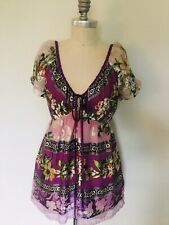 Hale Bob Silk Purple Floral Print Top Butterfly Sleeves Empire Waist Size M EUC