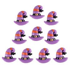 10pcs Haunted Witch Purple Hat Halloween Resin Flatback Hair Bow DIY Craft