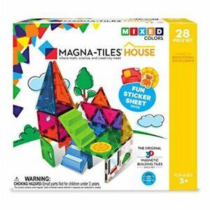 NIB Magna Tiles House 28-Piece Mixed Colors Building Magnetic Tiles