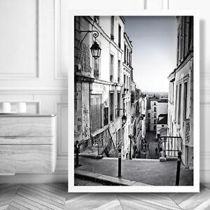 Paris Street Scene ART PRINT Abstract Black & White Photo Poster
