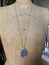 """ALEXIS BITTAR PURPLE LUCITE, GOLD TONE LONG NECKLACE, CRYSTALS, 32""""  Long"""