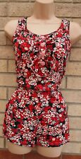 PUSSYCAT LONDON RED BLACK FLORAL HALF BUTTONED PLAYSUIT ALL IN ONE S 8 10