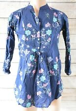Betty Jackson Black Popover Tunic Blouse Shirt Blue Pink Purple Floral Small