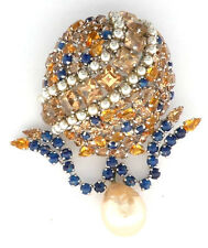 Signed Christian Dior Pendant Brooch Pin Dome w Gold, Blue Rhinestones Pearls