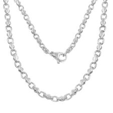 "14k White Gold Handmade Fashion Link Necklace 18"" 4mm 25 grams"