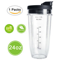 For Nutri Ninja 24OZ Replacement Part Cups w Sip & Seal Lids Measuring Scale Cup