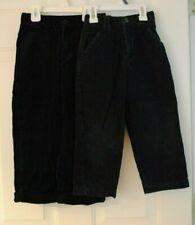 Boys Lot of 2 Black and Navy Corduroy Dress Pants Adjustable Waist Size 5 Euc